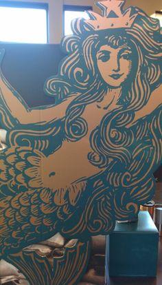 I am digging this woodblock print at Starbucks.