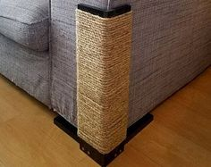 Couch Corner Cat Scratching Post 18-24 inches tall, Stained Pine, Sisal Rope
