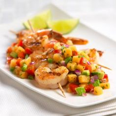 Grilled shrimp and cantaloupe salsa recipe! Cheddarwurst Recipe, Salsa Recipe, Recipe Ideas, Cantaloupe Recipes, Radish Recipes, Szechuan Recipes, Asian Recipes, Gnocchi Recipes, Seafood Recipes