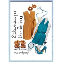 2 playsuit/romper sets,  created by kathy-martenson-sanko.polyvore.com