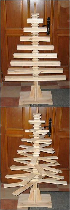 DIY Pallet Christmas Tree Ideas: Finding the best wood pallet Christmas tree project can a tricky idea especially for the beginners. Pallet Projects Christmas, Pallet Christmas Tree, Diy Pallet Projects, Woodworking Projects Diy, Pallet Ideas, Christmas Tree Template, Christmas Tree And Santa, Christmas Diy, Pallet Furniture