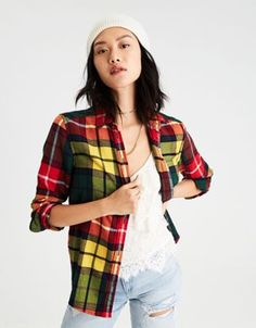 11331c9132a AE Ahh-Mazingly Soft Flannel Boyfriend Shirt by American Eagle Outfitters