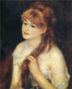 Pierre-Auguste Renoir (French 1841–1919) [Impressionism] Young Woman Braiding Her Hair, 1876.