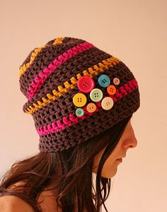 ANCA TOMA: F002 - Brown Beanie Hat loves Buttons