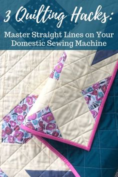 Straight line quilting on a domestic sewing machine, learn to quilt straight lines, walking foot quilting, straight line quilting, modernquilt Quilting For Beginners, Quilting Tips, Quilting Tutorials, Hand Quilting, Machine Quilting, Beginner Quilting, Straight Line Quilting, Straight Lines, Sewing Blogs