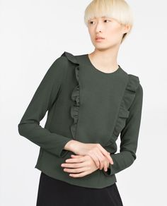LONG SLEEVE FRILLED TOP-View all-Woman-NEW IN | ZARA United States