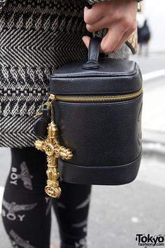 Vintage Chanel Bag & Gold Cross