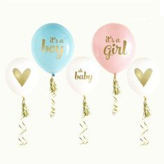 Gold Baby Shower Balloons are perfect for your gender reveal, to come flying out of a box so elegently! Tie these baby shower balloons to an announcement sign, outside of your shower or even on party tables. Each set comes with balloons printed with Gender Reveal Balloons, Gender Reveal Decorations, Baby Shower Gender Reveal, Baby Gender, Gender Party, Baby Shawer, Shower Party, Baby Shower Parties, Baby Shower Themes