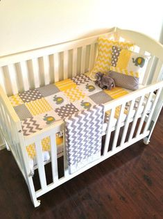 Elephant Baby Crib Quilt and two Cushion covers....Made after you order #yellow and grey #elephant nursery