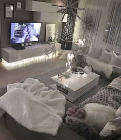 Cozy Living Rooms, Home Living Room, Apartment Living, Living Room Designs, Living Room Decor, White Apartment, Barn Living, Apartment Furniture, Apartment Ideas