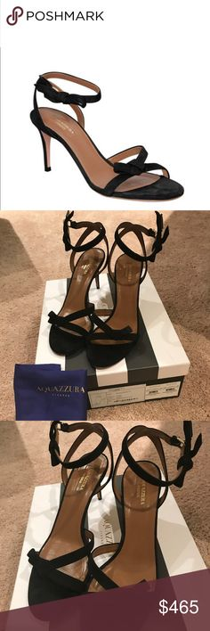 """Aquazzura Passion 75 Suede Sandals Black size 38 Excellent condition - only worn 2 times!!!  Sold out everywhere in black.  Gorgeous bow-embellished Suede sandals with buckle ankle strap.  75 mm (2.95"""") Suede covered heel.   Leather sole and lining.  Simple and elegant with bow details at Toe strap and ankle strap.  Only signs of wear on sole (minimal) and there are so nicks on the inside of one heel.  These are FABULOUS!  Purchased at Barneys.  Box and dust bag included.  Price firm…"""