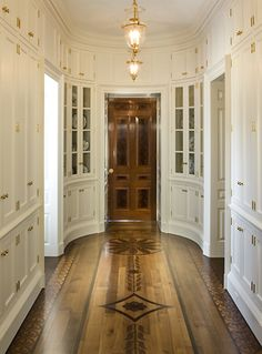 Every home should have a room to store china, crystal, silver, and serving pieces. Architect Design, Kitchen Pantry, Kitchen Floor, Stenciled Floor, Hallways, Inlay Wood, Wood Parquet, Wood Flooring, Hardwood