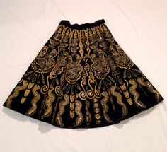 Mexican Skirt Black Velvet Circle Skirt Vintage Day of the Dead Aztec Mayan Frida Kahlo Style Butterfly Snake 50's Folk Art  FREE USA SHIP on Etsy, $278.00