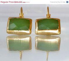 ON SALE pastel light green stone earrings, simple everyday, green jewelry,framed stone, rectangle earrings, Gold post fashion earrings.