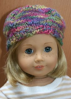 Free knit pattern for american girl doll hat beret