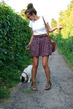 casual white t-shirt, cute floral skirt, gladiators, lovable dog!