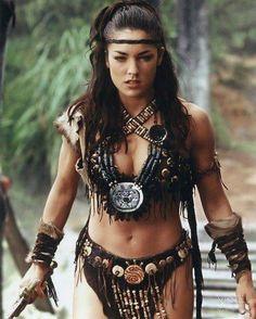 Tsianina Joelson as Varia from Xena:Thea Warrior Princess Xena Warrior Princess, Warrior Girl, Warrior Women, Tribal Warrior, Fantasy Women, Fantasy Girl, Fantasy Warrior, Barbarian Costume, Amazon Warriors