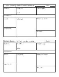 Guided Reading Lesson Plan Template Guided Reading Lesson Plan - Literacy lesson plan template