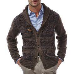 Haggar Fair Isle Toggle Cardigan Sweater