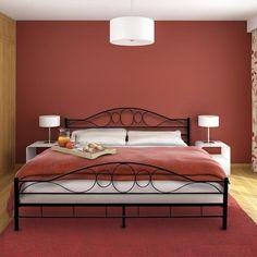 Black Ornate Double Metal Bed King Size Bedroom Frame Vintage Furniture 140x200