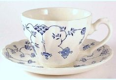 TeaCup from a teaset I found on my first church community breakfast in Scotland.  Love the blues on creamy white..