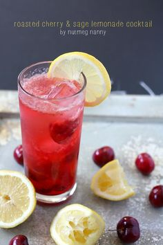 How to Roasted Cherry Sage Lemonade Cocktail