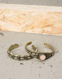 Conjunto 2 pulseiras metálicas pedra rosa - Acessórios mulher - Bershka Portugal