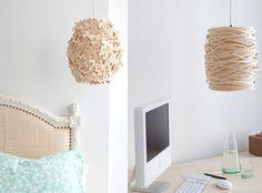 Beautiful pendant Bonne Nuit lamps handmade from wood veneer by Sarah Foote. Love the delicate textures!