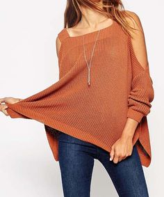 Fashionable Square Neck Long Sleeve Hollow Out Slit Knitwear For Women