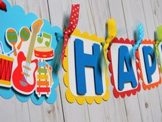 Music Theme Birthday, Happy Birthday Signs, First Birthday Parties, First Birthdays, Music Party Decorations, Birthday Decorations, Banners Music, Custom Birthday Banners, Rockers