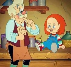 Ups chucky boy not pinocchio 🤥 hilarious fan art Dark Disney, Disney Art, Arte Horror, Horror Art, Scary Movies, Horror Movies, Geeks, Disney Horror, Funny Horror