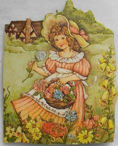 Cottage Girl Apron Flowers Vtg Greeting Card Glittered Wood Christmas Ornament