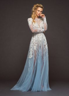 a4d4d9fe0006 Fleetwood by Hayley Paige Red Carpet Spring 2018 / Final Fantasy // Alice  Blue illusion gown, long sleeve with pearlescent beading and embroidery