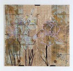 Robert Kushner, Iris Garden (2003) oil, metallic leaf on Japanese screen