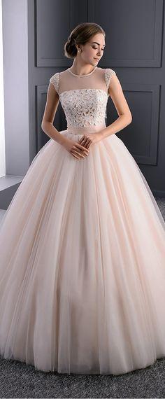 Elegant Tulle Jewel Neckline Ball Gown Wedding Dress With Detachable Sash