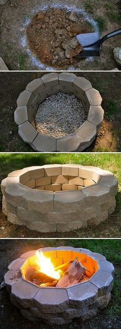 DIY Fireplace Ideas - DIY Fire Pit - Do It Yourself Firepit Projects and Fireplaces for Your Yard, Patio, Porch and Home. Outdoor Fire Pit Tutorials for Backyard with Easy Step by Step Tutorials - Coo (How To Build Patio Step) Backyard Projects, Outdoor Projects, Home Projects, Diy Projects For Men, Diy Fire Pit, Fire Pit Backyard, Cheap Fire Pit, How To Build A Fire Pit, Deck With Fire Pit