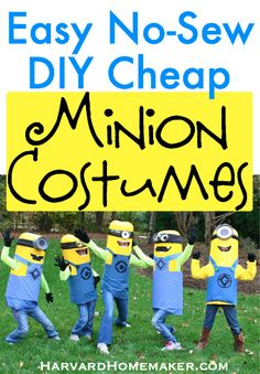 No Sew Easy DIY Cheap Minion Costumes by Harvard Homemaker. These were a hit!!! #halloweencostumes #groupcostumes #despicableme #minions #nosewcostumes #diycostumes #harvardhomemaker
