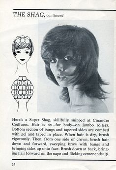 "Oh how I remember the ""shag"" cut. And the directions on how to roll tour hair to get that look. I think every girl around had the same cut. Nostalgia, Vintage Hairstyles, Shag Hairstyles, Curly Hairstyles, Italian Hairstyles, Wedding Hairstyles, Teenage Hairstyles, Gorgeous Hairstyles, School Hairstyles"