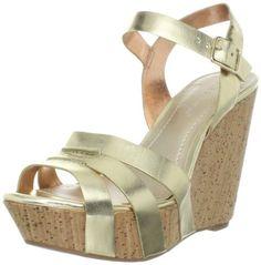 BCBGeneration Women's Perrin Wedge Sandal,Gold/New Soft Metallic,6 M US