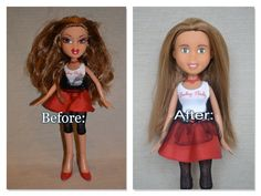 "Repainted Second-Hand Doll Make-Under - brown hair, green eyes ""Maya"" by TrueBeautyProject on Etsy"