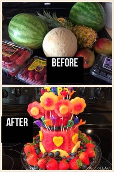 Cake made out of fruit!