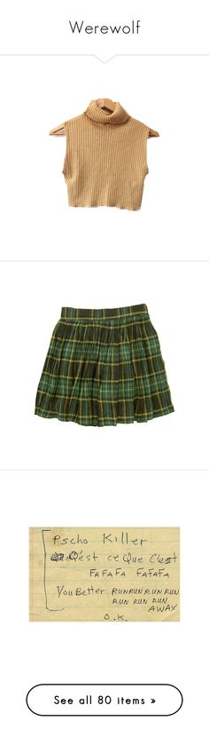 """""""Werewolf"""" by anyapearl ❤ liked on Polyvore featuring tops, crop top, jackets, shirts, skirts, bottoms, plaid, green, plaid skirt and green skirt"""
