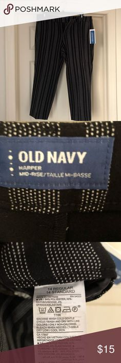 Old Navy Harper pants Black with cream stripes. With tags, never worn. Old Navy Pants
