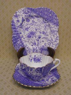 RARE SHELLEY / WILEMAN ART NOUVEAU ALEXANDRA DOLLY VARDEN BLUE TEA TRIO c.1887