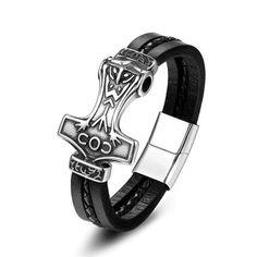 Bracelet De Cuir Jewelry Gifts, Jewelry Bracelets, Bracelet Viking, Mens Leather Accessories, Thors Hammer, Punk Fashion, Vikings, Stainless Steel, Belt