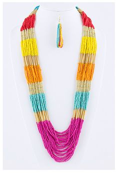 9.10.13 WOMEN'S ACCESSORY OFFER. BEADED COLORBLOCK NECKLACE/EARRING SET. CLAIM HERE FOR $18 PLUS FREE SHIPPING