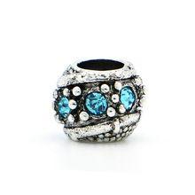 Livraison gratuite 1 pc argent perles charme européen bleu strass Dots mode perles Fit Pandora Bracelets et collier(China (Mainland))