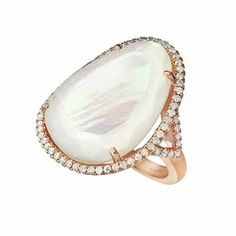 Rose Gold Mother of Pearl and Diamond Cocktail RIng