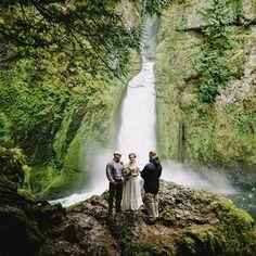 A gorgeous elopement at Wahclella Falls outside of Portland, Oregon.