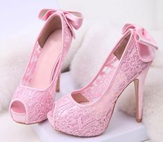 Attractive Lace Bowknot Peep Toe Women Sandals by beauterfulboy Pretty Shoes, Beautiful Shoes, Cute Shoes, Me Too Shoes, Beautiful Beautiful, Lace Heels, Pink Heels, Light Pink High Heels, Glitter Heels